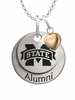 Mississippi State Bulldogs Alumni Necklace with Heart Accent