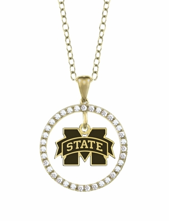 Mississippi State Bulldogs Gold and Diamond Circle Pendant