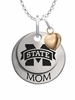 Mississippi State Bulldogs MOM Necklace with Heart Charm