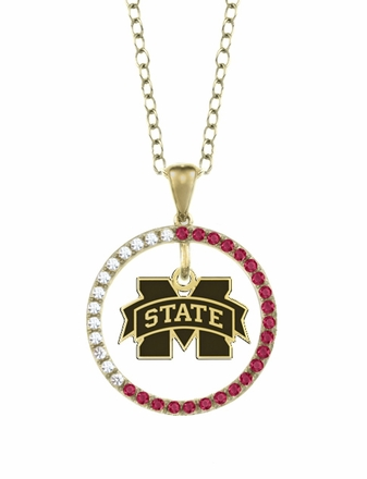 Mississippi State Bulldogs Ruby and Diamond Necklace