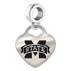 Mississippi State Engraved Heart Dangle Charm