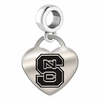 North Carolina State Engraved Heart Dangle Charm