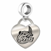 North Carolina Charlotte Engraved Heart Dangle Charm