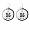 Nebraska Cornhuskers Black and White CZ Circle Earrings