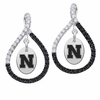 Nebraska Cornhuskers  Black and White Figure 8 Earrings