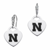 Nebraska Cornhuskers CZ Cluster Heart Earrings