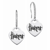 Nebraska Cornhuskers Dangle Heart CZ Earring