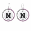 Nebraska Cornhuskers Pink CZ Circle Earrings
