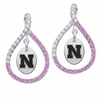 Nebraska Cornhuskers Pink CZ Figure 8 Earrings