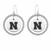 Nebraska Cornhuskers  White CZ Circle Earrings
