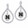 Nebraska Cornhuskers White CZ Figure 8 Earrings