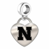 Nebraska Engraved Heart Dangle Charm