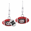 Nebraska Crystal Football Earrings