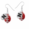 Nebraska Huskers Crystal Football Earrings