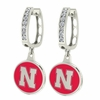 Nebraska Huskers CZ Hoop Earrings