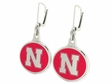 Nebraska Huskers Silver Enamel Earrings