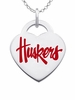 Nebraska Huskers Logo Heart Pendant With Color