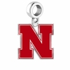 Nebraska Huskers Silver Logo and School Color Drop Charm