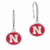 Nebraska Huskers Sterling Silver and CZ Drop Earrings