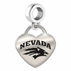Nevada Reno Wolf Pack Engraved Heart Dangle Charm