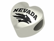 Nevada Reno Wolfpack Heart Shape Bead
