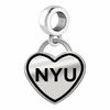 New York Violets Border Heart Dangle Charm