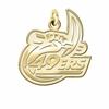 North Carolina Charlotte 49ers 14K Yellow Gold Natural Finish Cut Out Logo Charm