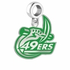 North Carolina Charlotte 49ers Silver Logo and School Color Drop Charm