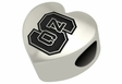 North Carolina State Wolfpack Heart Shape Bead
