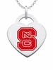 North Carolina State Wolfpack Logo Heart Pendant With Color