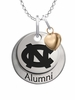 North Carolina Tar Heels Alumni Necklace with Heart Accent