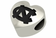 North Carolina Tar Heels Heart Shape Bead