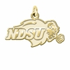 North Dakota State Bison 14K Yellow Gold Natural Finish Cut Out Logo Charm