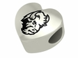 North Dakota State Bison Heart Shape Bead