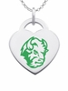 North Dakota State Bison Logo Heart Pendant With Color