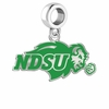 North Dakota State Bison Silver Logo and School Color Drop Charm