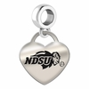 North Dakota State Engraved Heart Dangle Charm