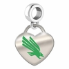 North Texas Mean Green Eagles Color Heart Dangle