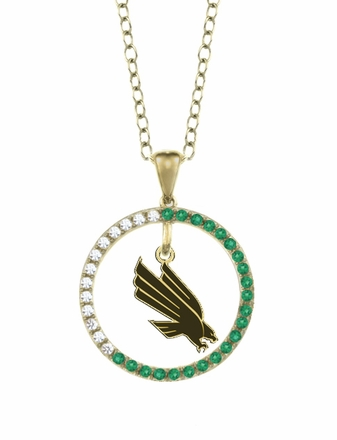 North Texas Mean Green Eagles Emerald and Diamond Necklace