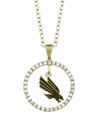North Texas Mean Green Eagles Gold and Diamond Circle Pendant