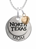 North Texas Mean Green Eagles MOM Necklace with Heart Charm