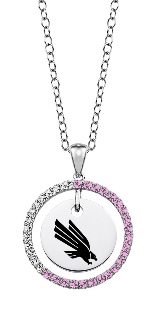North Texas Mean Green Eagles Pink Cz Necklace