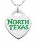North Texas Mean Green Logo Heart Pendant With Color