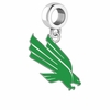 North Texas Mean Green Silver Logo and School Color Drop Charm