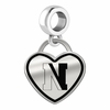 Northeastern Huskies Border Heart Dangle Charm
