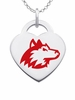 Northern Illinois Huskies Logo Heart Pendant With Color