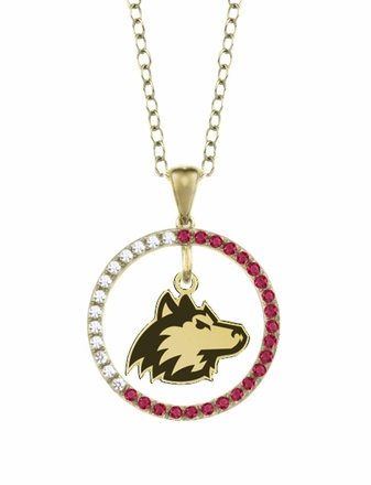 Northern Illinois Huskies Ruby and Diamond Necklace