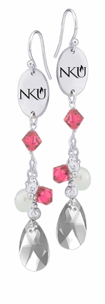 Northern Kentucky Norse Pink Crystal and Pearl Earrings