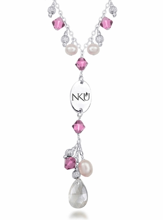 Northern Kentucky Norse Pink Crystal and Pearl Necklace
