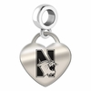 Northwestern Engraved Heart Dangle Charm